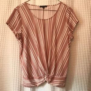 Pink and White Twist Blouse